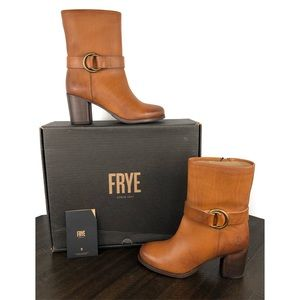 Frye Addie Harness Mid Brown Italian Leather Boots